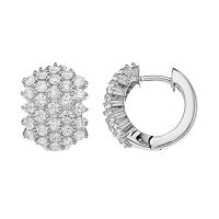Sophie Miller Sterling Silver Cubic Zirconia Huggie Hoop Earrings