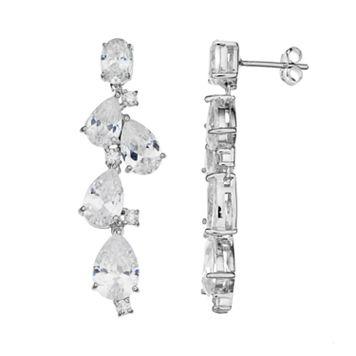 Sophie MillerSterling Silver Cubic Zirconia Linear Drop Earrings