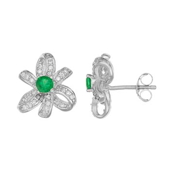 Sophie Miller Sterling Silver Simulated Emerald & Cubic Zirconia Bow Stud Earrings