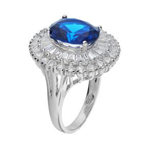 Sophie MillerSterling Silver Lab-Created Blue Spinel & Cubic Zirconia Ballerina Ring