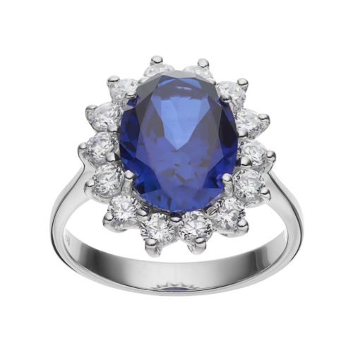 Sophie Miller Sterling Silver Lab-Created Blue Spinel & Cubic Zirconia Halo Ring