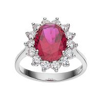 Sophie Miller Sterling Silver Lab-Created Ruby & Cubic Zirconia Halo Ring