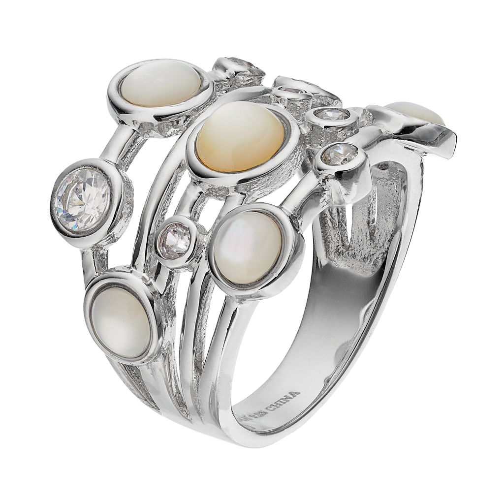 Sophie Miller Sterling Silver Mother-of-Pearl & Cubic Zirconia Ring