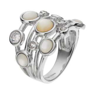 Sophie MillerSterling Silver Mother-of-Pearl & Cubic Zirconia Ring