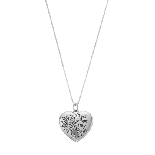"Timeless Sterling Silver Cubic Zirconia ""You Are My Sunshine"" Heart Pendant Necklace"