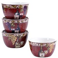 Certified International Wine Tasting 4 pc Ice Cream Bowl Set