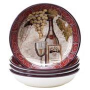 Certified International Wine Tasting 4 pc Soup / Cereal Bowl Set