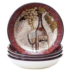 Certified International Wine Tasting 4 pc Soup / Cereal Bowl Set