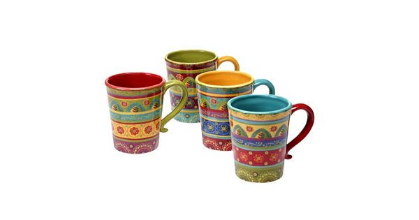 Certified International Tunisian Sunset 4 Pc Coffee Mug Set