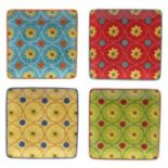 Certified International Tunisian Sunset 4 pc Square Canape Plate Set