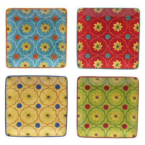 Certified International Tunisian Sunset 4-pc. Square Canape Plate Set