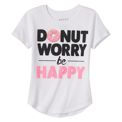 "Girls 7-16 ""Donut Worry Be Happy"" Graphic Tee"