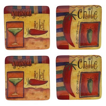 Certified International Salsa 4-pc. Square Dessert Plate Set