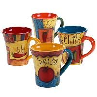 Certified International Salsa 4 pc Coffee Mug Set
