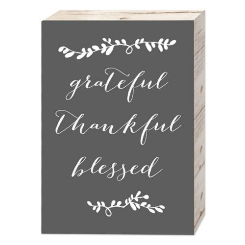 "Belle Maison ""Grateful Thankful Blessed"" Box Sign Art"