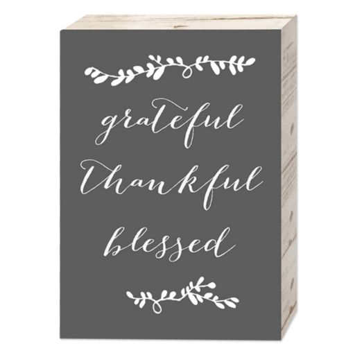 "Belle Maison ""Grateful Thankful Blessed"" Box Sign Art"