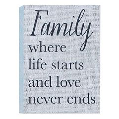 Belle Maison 'Family Where Life Starts' Box Sign Art