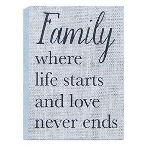"""Belle Maison """"Family Where Life Starts"""" Box Sign Art"""