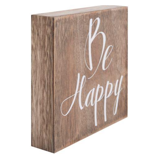 """Belle Maison """"Be Happy"""" Box Sign Art"""