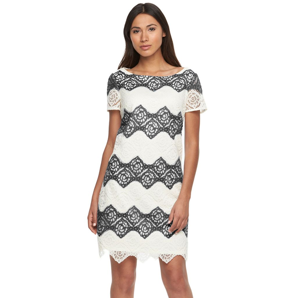 Women's Suite 7 Striped Lace Shift Dress