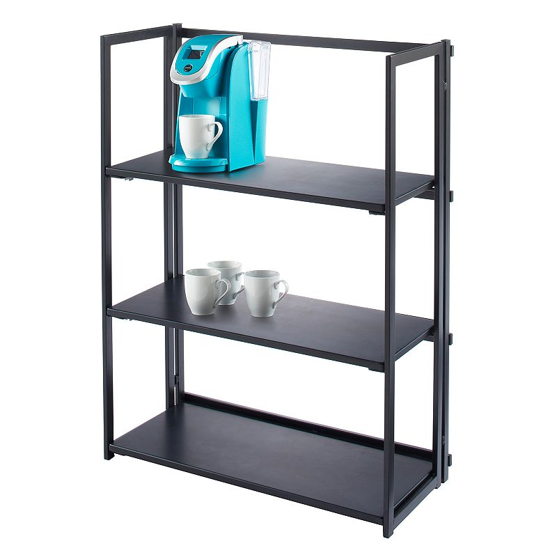 Simple By Design Foldable Bookshelf, Black This superb Simple By Design collapsible, foldable bookshelf is the perfect addition to any room. Modern design 38''H x 28.25''W x 12.25''D Weight limit: 26 lbs. (each shelf) MDF, metal Wipe clean Size: One Size. Color: Black. Gender: Unisex.