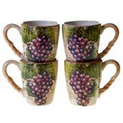 Certified International Sanctuary Wine 4 pc Coffee Mug Set