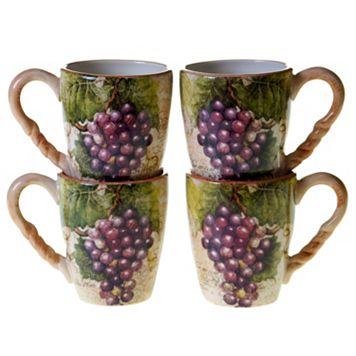 Certified International Sanctuary Wine 4-pc. Coffee Mug Set