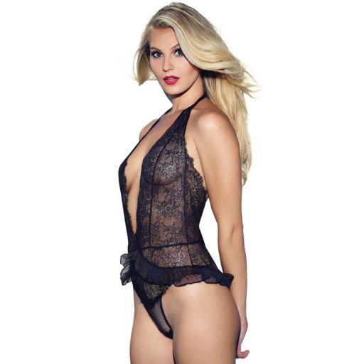 Jezebel Pandora Lace Halter Lingerie Bodysuit 36042