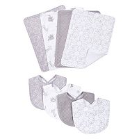 Trend Lab 8-pc. Gray & White Circles Bib & Burp Cloth Set