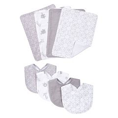 Trend Lab 8 pc Gray & White Circles Bib & Burp Cloth Set