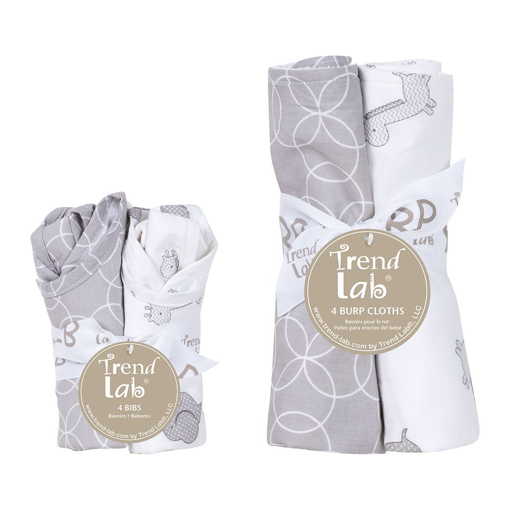 Trend Lab 8-pc. Gray & White Circles Bib & Burp Cloth Set