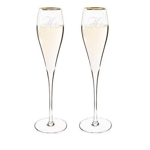 Cathy's Concepts 2-pc. Monogram Gold Tone Champagne Flute Set