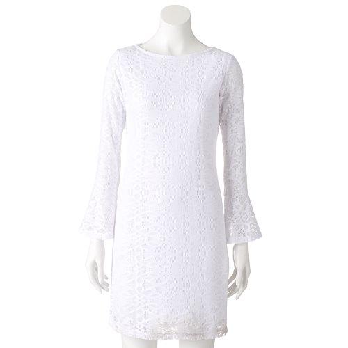Womens Tiana B White Lace Shift Dress