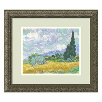 Amanti Art Wheatfield with Cypresses Framed Wall Art by Vincent van Gogh