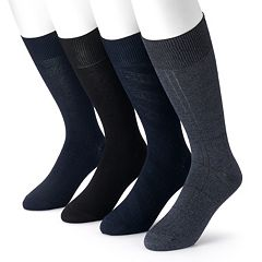 Men's Croft & Barrow 4-Pack Textured Windowpane Dress Socks