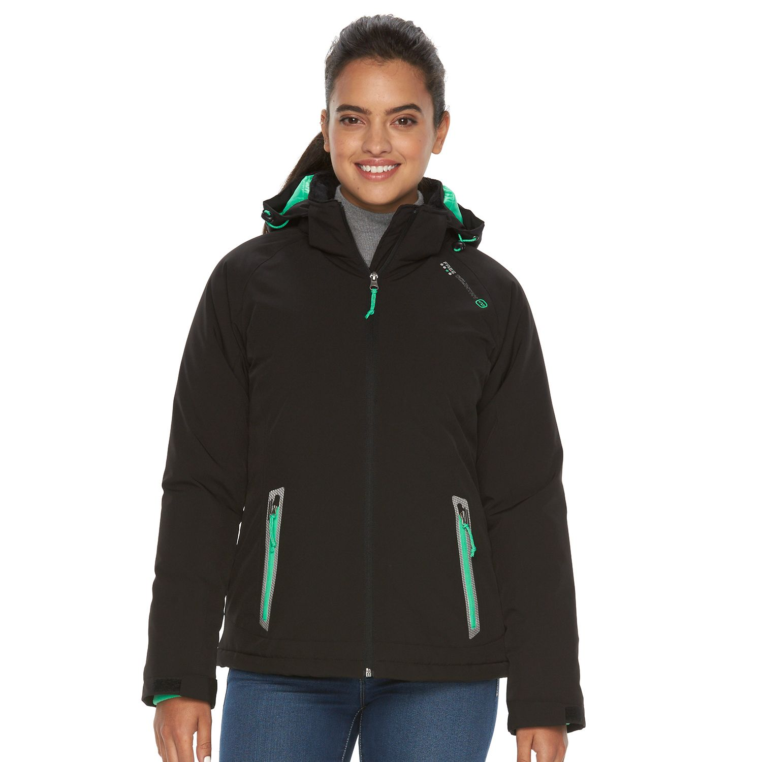 Womens Free Country Hooded Soft Shell Puffer Jacket