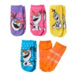 Disney's Frozen Olaf Girls 5 pkNo-Show Socks