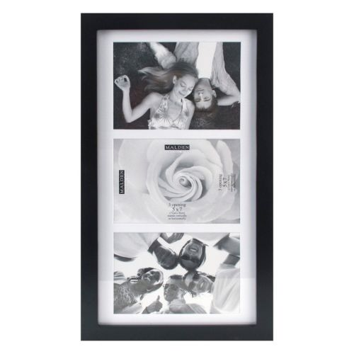 Malden Matted Black 3-Opening 5″ x 7″ Collage Frame