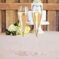 Cathy's Concepts 2 pc Monogram Silver Tone Champagne Flute Set
