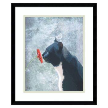Amanti Art Black Cat Sniffing Flower Framed Wall Art