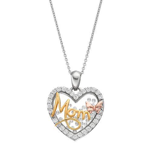 Hallmark Tri-Tone Sterling Silver Cubic Zirconia Mom Heart Pendant