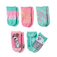 Girls 4-6x The Secret Life of Pets 5 pkNo-Show Socks