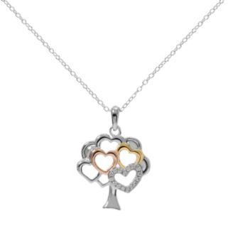 Hallmark Tri-Tone Sterling Silver Cubic Zirconia  Heart Tree Pendant
