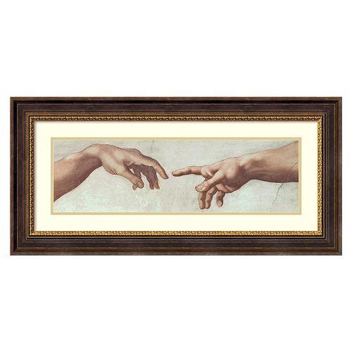Amanti Art Creation of Adam Hands Framed Wall Art by Michelangelo