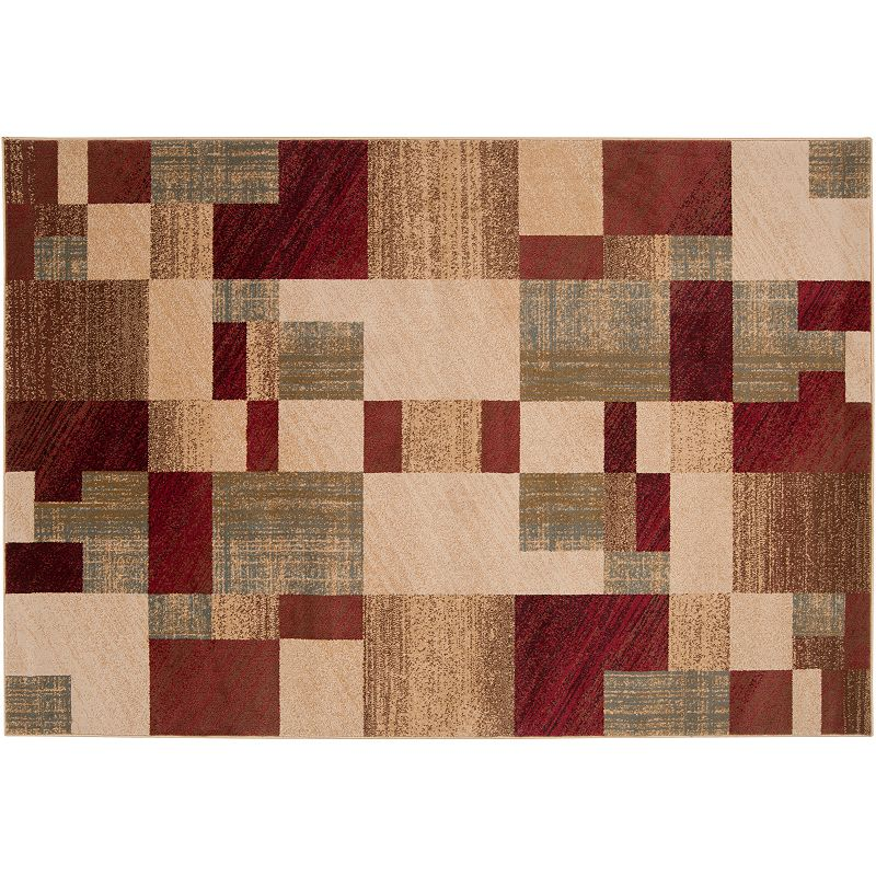 Decor 140 Kenderes Geometric Rug, Dark Red, 8Ft Rnd