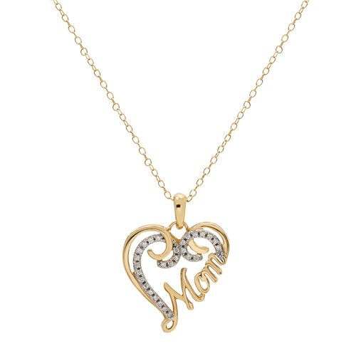 Hallmark Two Tone Sterling Silver Cubic Zirconia Mom Heart Pendant
