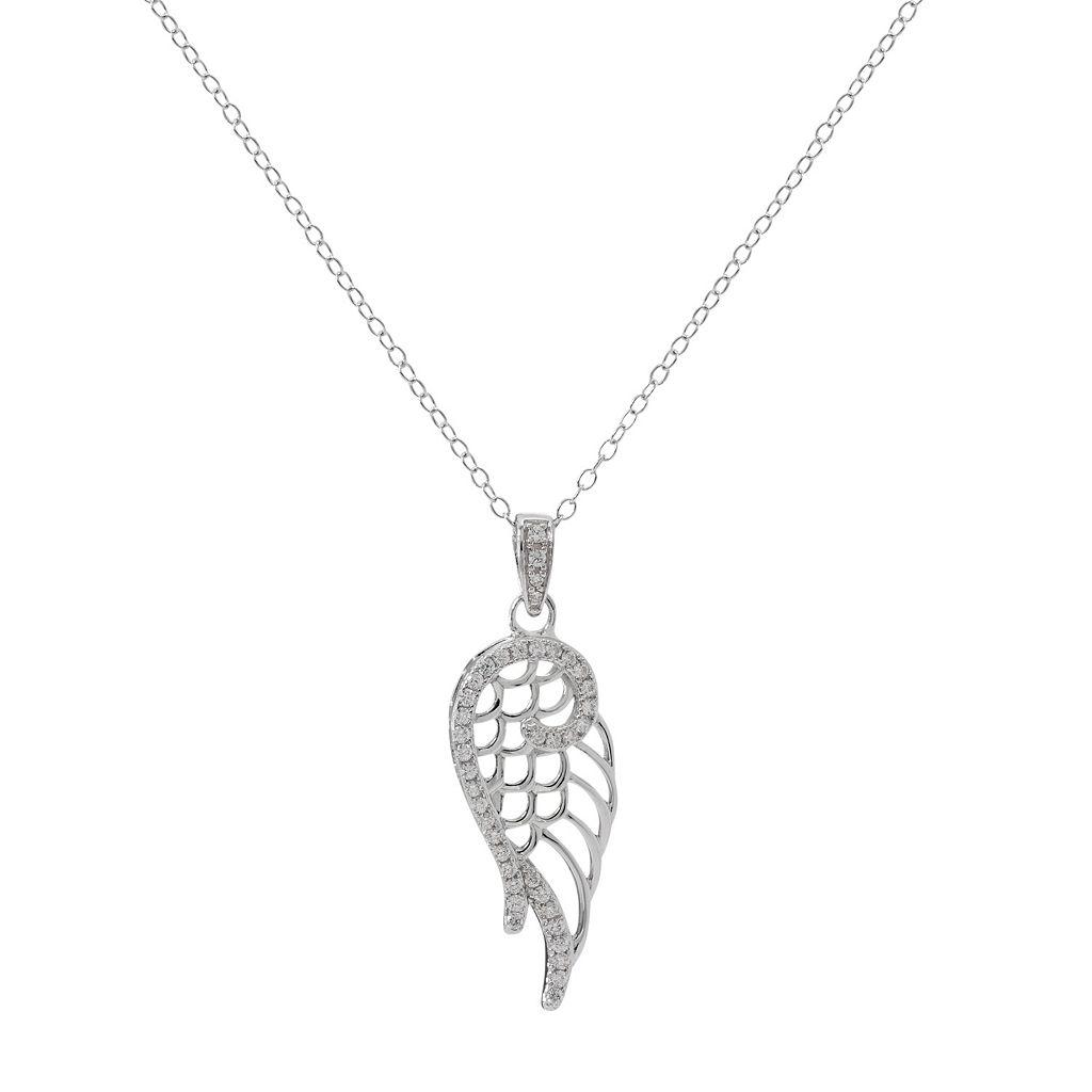 Hallmark Sterling Silver Cubic Zirconia Wing Pendant Necklace
