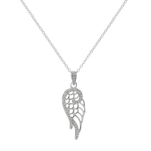 Hallmark Sterling Silver Cubic Zirconia Wing Pendant Necklace