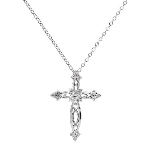 Hallmark Sterling Silver Cubic Zirconia Cross Pendant Necklace