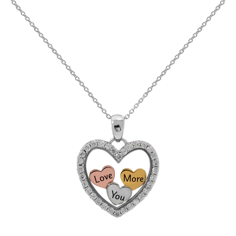Sterling Silver w//Gold-tone CZ I Love You More Daughter Pendant Necklace 18 by Sentimental Expressions